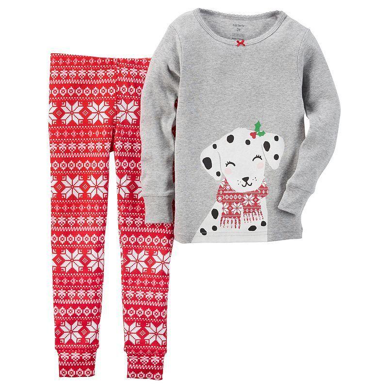 ece92892a370 Toddler Girl Carter s Dalmatian Top   Fairisle Pants Pajama Set ...