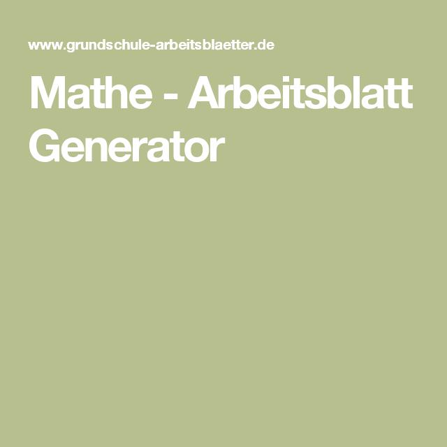 Mathe - Arbeitsblatt Generator | Lerninhalte | Pinterest