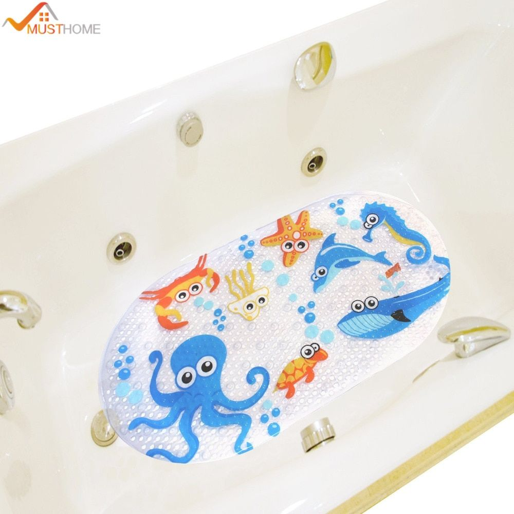 Wholesale Price Free Shipping Bathroom Products 39cmx69cm Non Slip Kids Bath Mats For Shower Cartoon Octopus Design Kids Bath Mat Bathtub Mat Baby Bath Mats