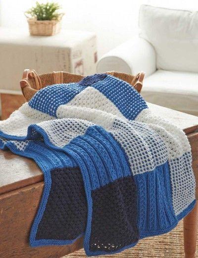 Textured Sampler Afghan Free Easy Knit Pattern Panels Of Garter