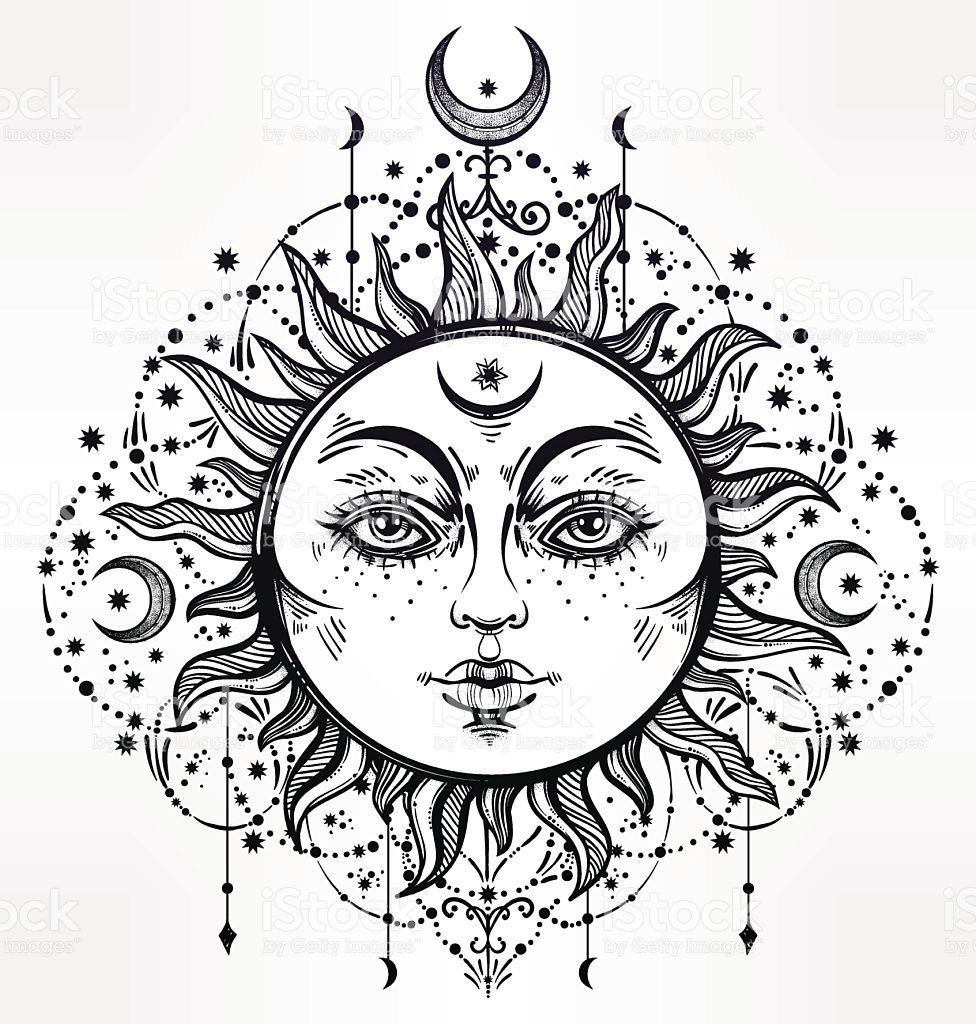 Pin by Paula Wynn on around the house | Sun, moon drawings ...  |Sun And Moon Design Drawing