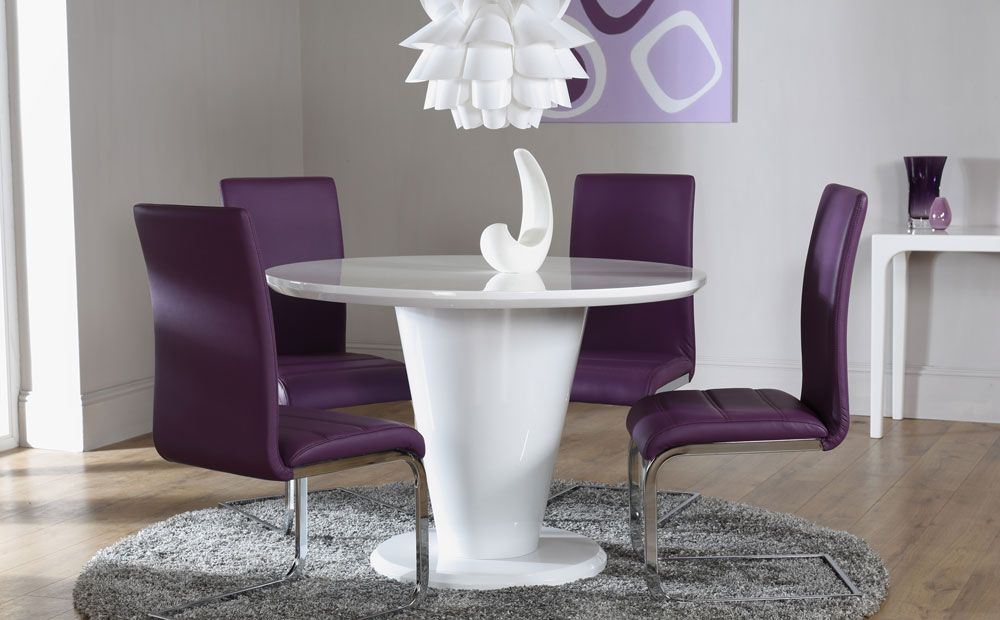 The Paris White High Gloss Round Dining Table And 4 Chairs Set (Perth Purple )