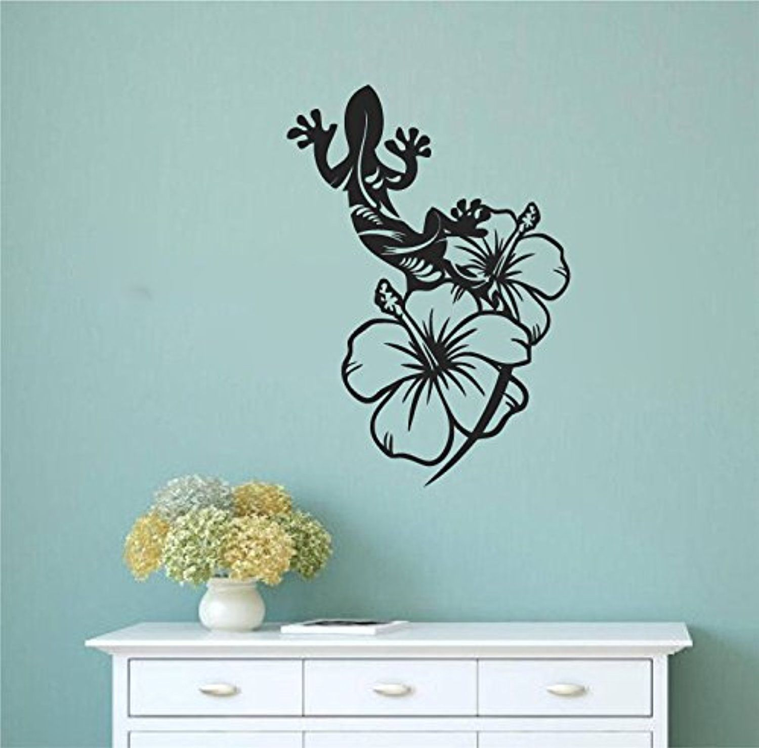 Tropical Gecko Lizard With Hibiscus Flowers Vinyl Wall Decal Sticker Graphic Awesome Products Selected