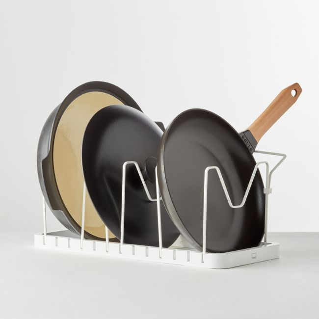 Yamazaki Tower White Adjustable Pot Lid and Frying Pan Organizer | Crate and Barrel
