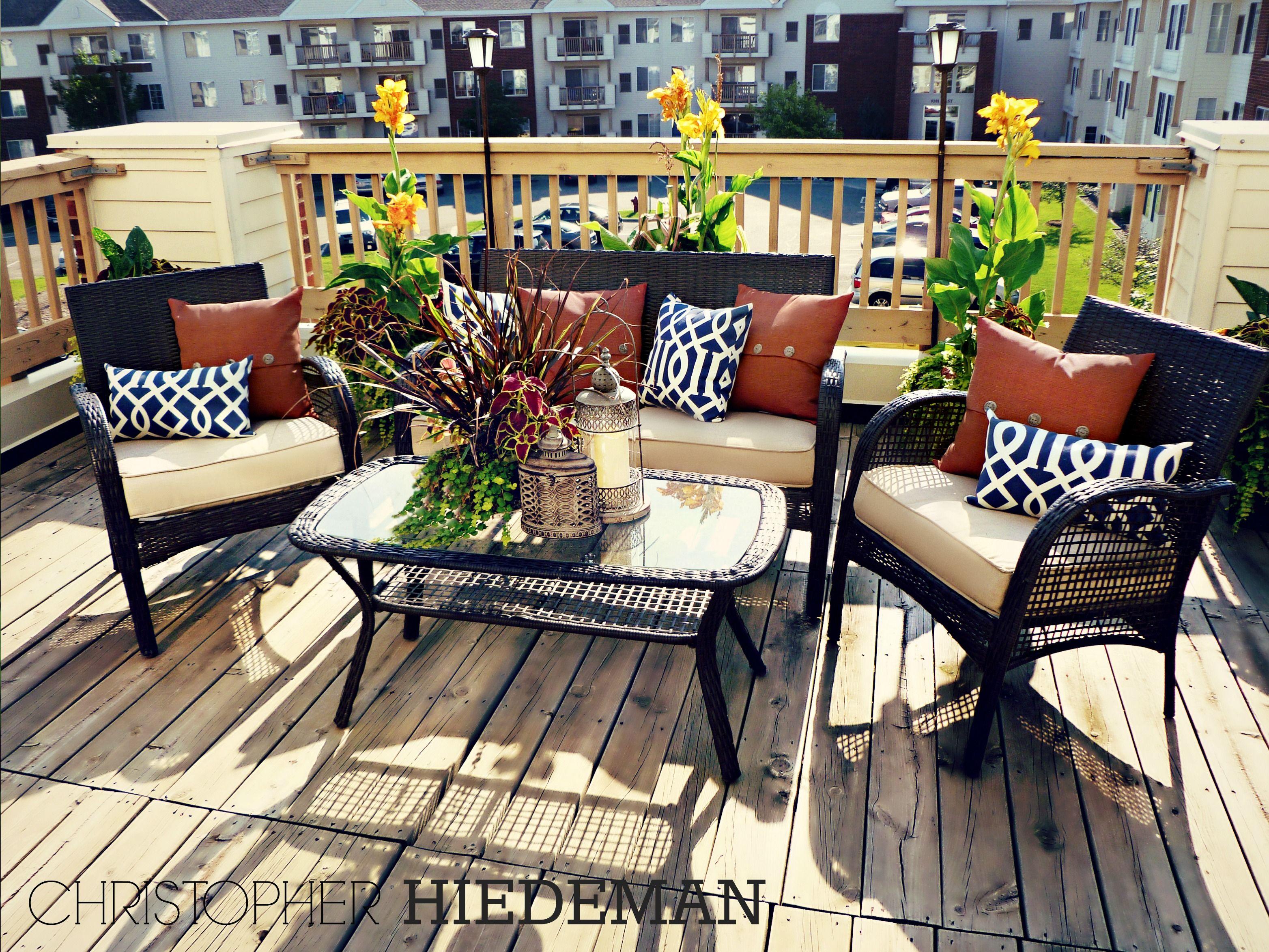 Navy blue with a rust orange color scheme. Summer patio ...