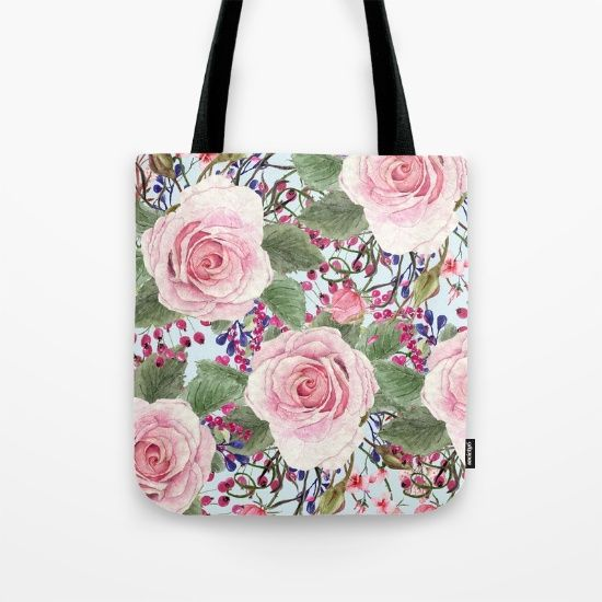 #pink #roses #flowers #floral #woman #girly #pretty #shabby #spring #totebag available in different #homedecor products. Check more at society6.com/julianarw