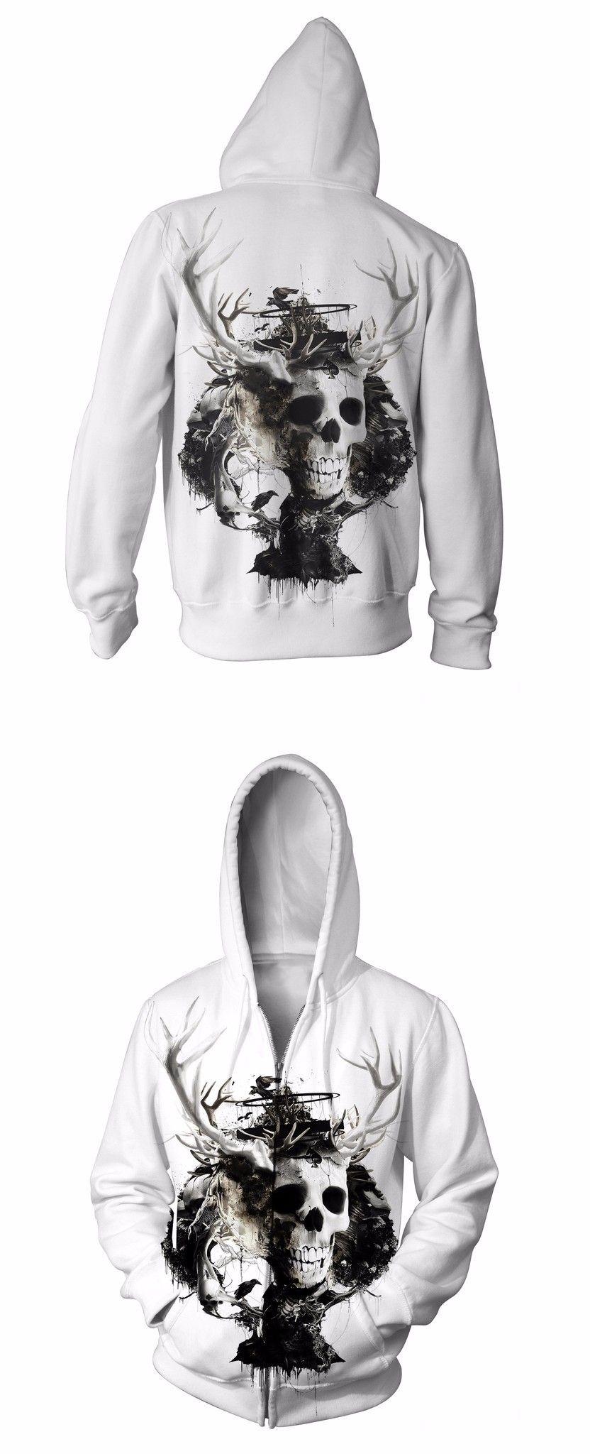 da7b248fabbc 2017 new fashion Cool sweatshirt Hoodies Men women print Skull elk hot  Style Streetwear Long sleeve clothes