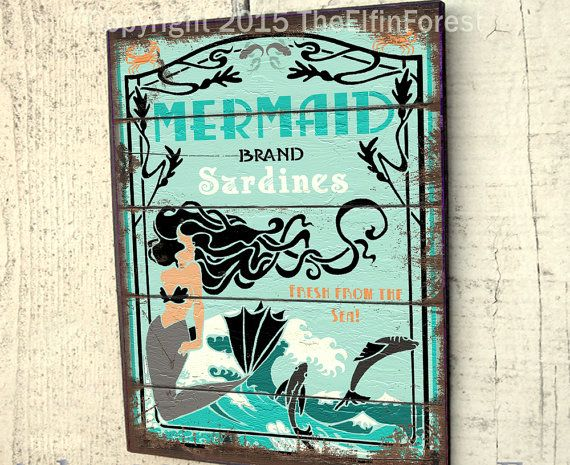 Mermaid sign outdoor wood yard art vintage style advertisement beach house or wooden fence decor by The Elfin Forest #mermaidsign