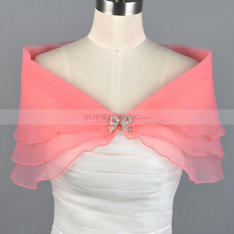 Watermelon Organza Bridal Wrap with Bow Brooch | Pinterest ...