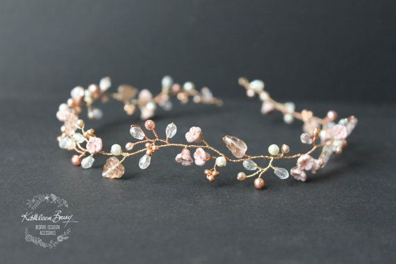 Dainty Rose gold hair vine style headband or wreath with blush pink and champagne STYLE: Zoe #bridalhairflowers