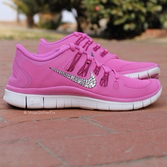 promo code 100fe 99ea4 pink nike shoes with rhinestones | women s nike free 5 0 w ...