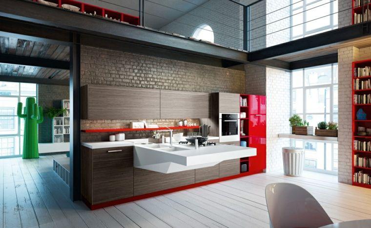 moderno-open-space-cucina-a-parete-frigorifero-rosso-tavolo-bianco ...