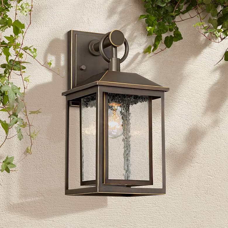 Califa 15 1 4 High Bronze Textured Glass Outdoor Wall Light
