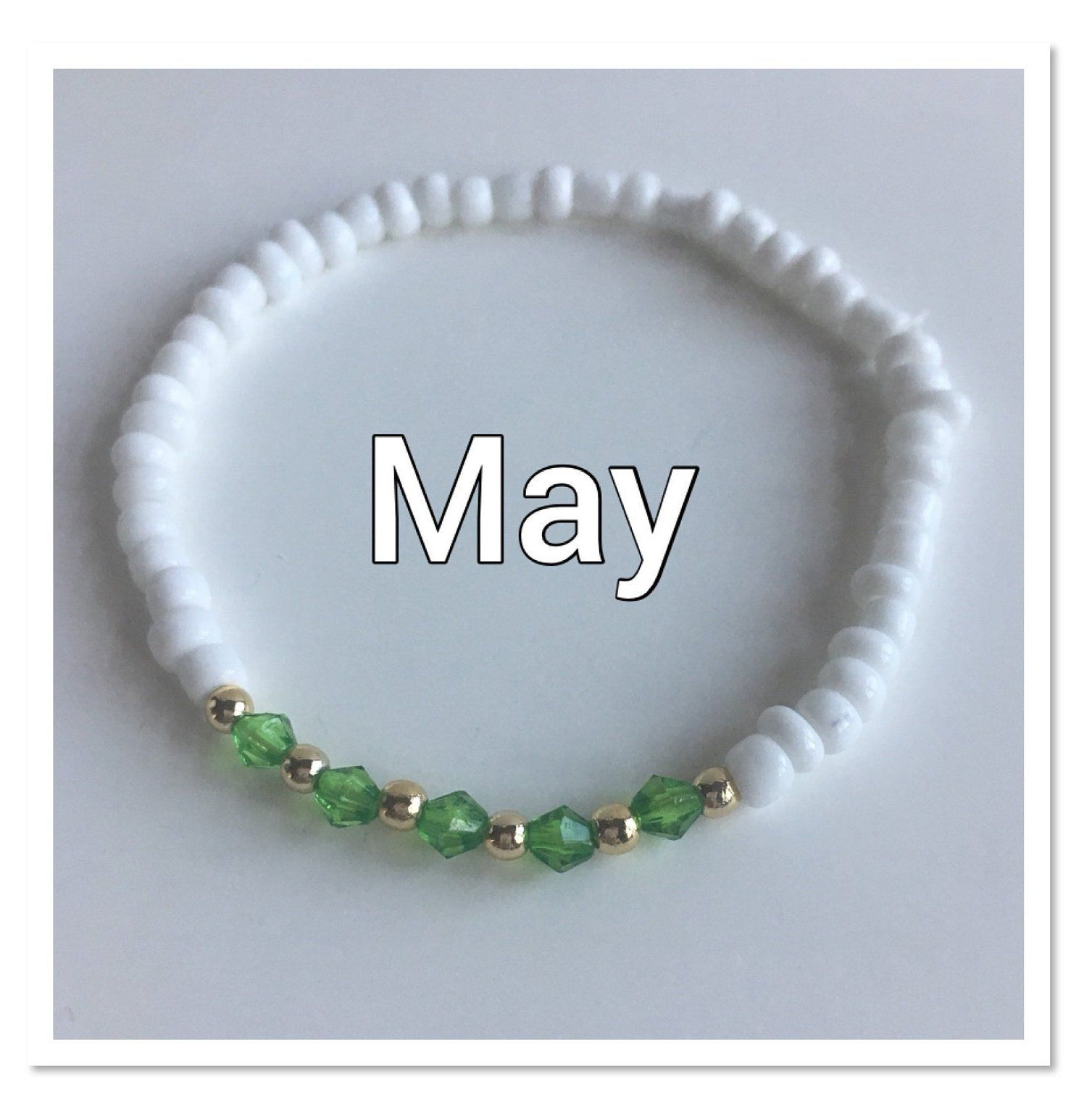 White seed bead and birthstone beaded bracelet girlus birthstone