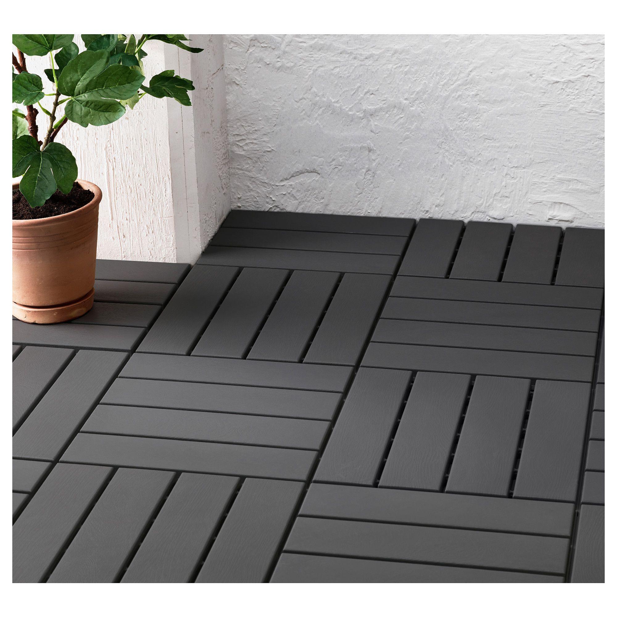 IKEA RUNNEN Decking, outdoor dark gray Patio flooring