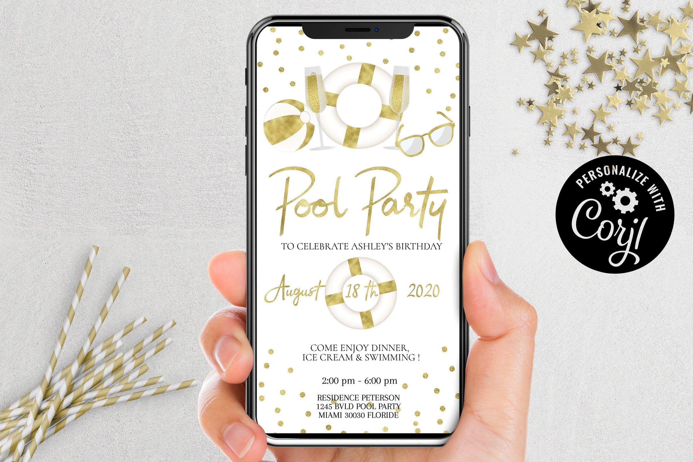 POOL PARTY Invitation virtuelle, anniversaire d'invitation modifiable, invitation Editable ...