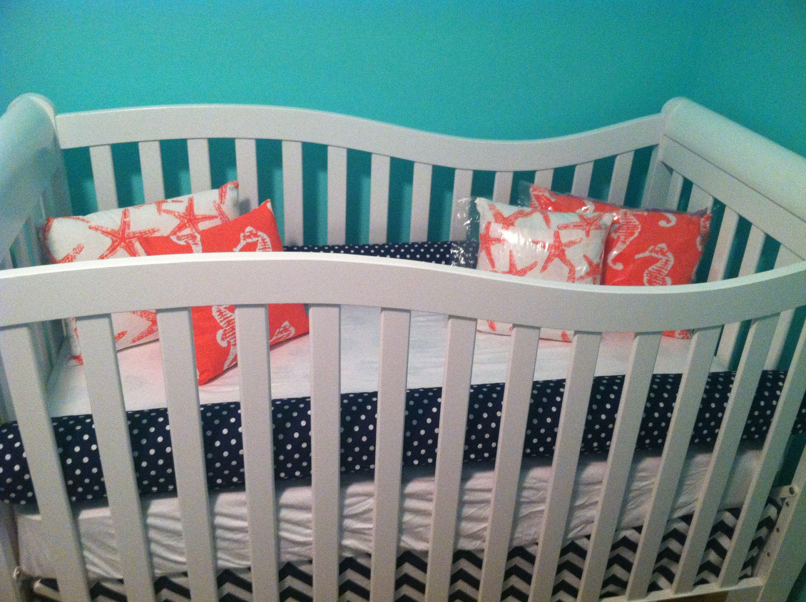 Sophisticated Modern Nautical Nursery: Nautical Girl Crib Bedding Navy, Coral & White. Tiffany