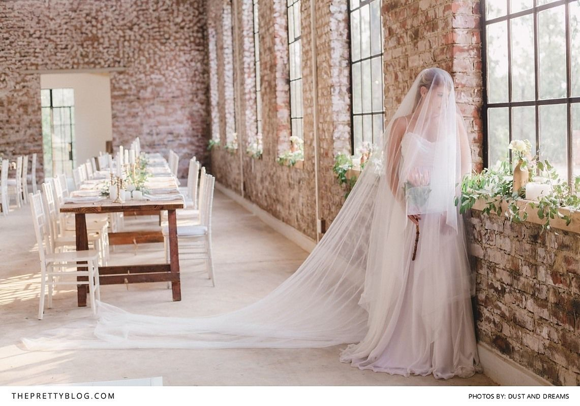Long veil wedding dresses  A Time to Anticipate An Organic u Ethereal Wedding Scene  Bridal