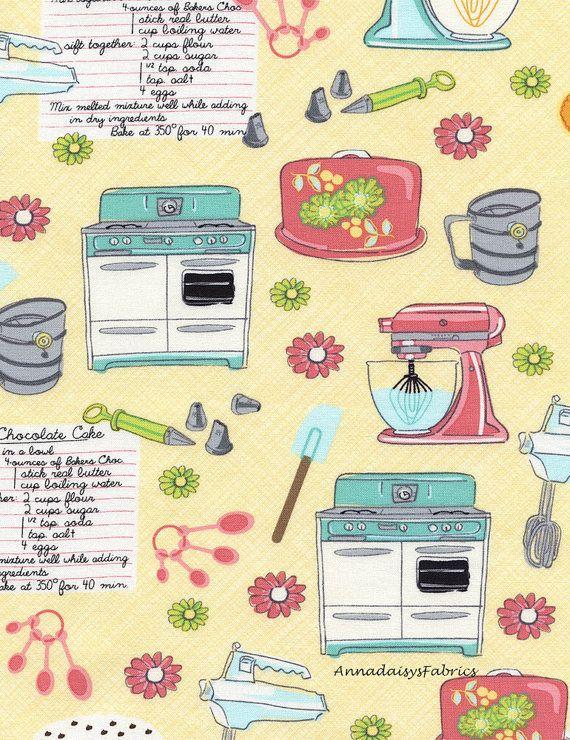 Kitchen Fabric, Timeless Treasures Fun C4097, Apron Fabric, Kitchen  Appliances, Recipes,