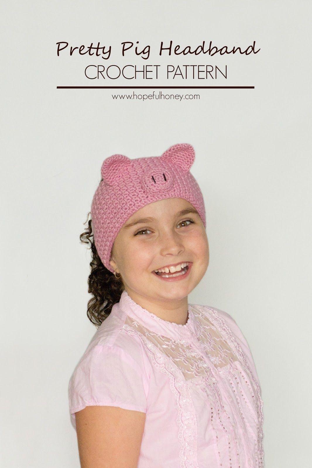 Pretty Pig Headband Crochet Pattern   Gorros, Tejido y Banda