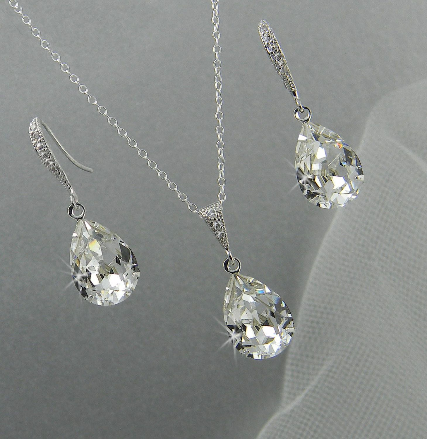 Bridal Jewelry Set, Crystal Pendant Earrings Necklace