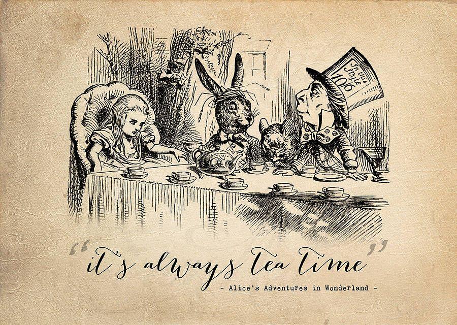 19 Teatime Alice In Wonderland Print Alice And Wonderland