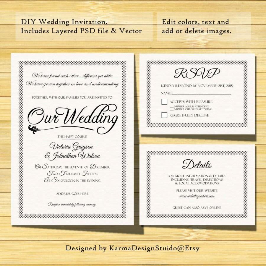 Diy Wedding Invitations Templates Wedding Invitation
