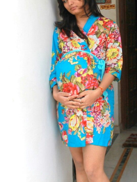 Maternity Hospital Gown Delivery Robe Blue Floral Perfect by Koovs ...