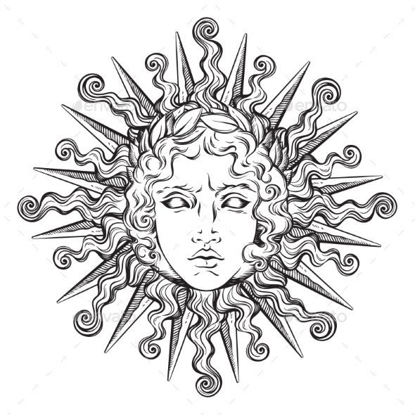 Antique Style Sun mit Gesicht von Apollo