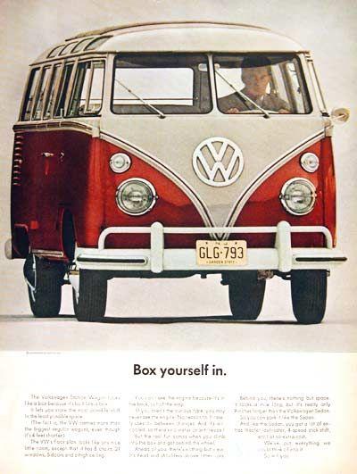 "1963 Volkswagen 21 Window Bus Station Wagon original vintage ad.  ""Box yourself in."""