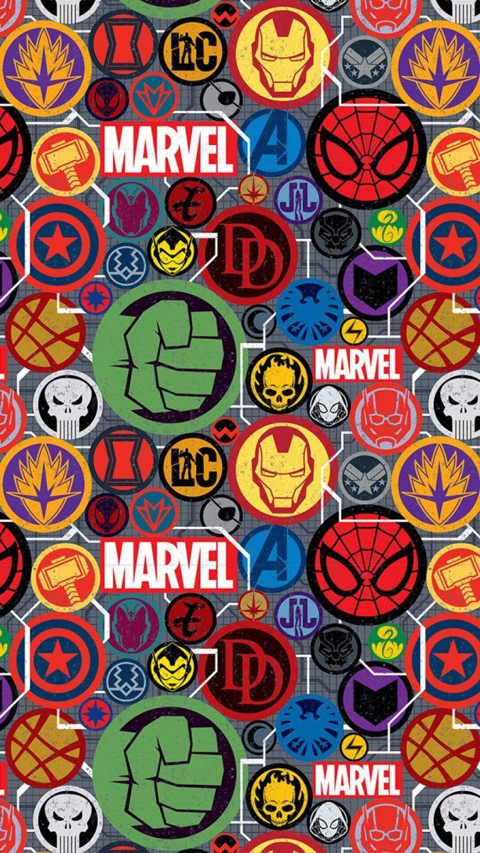Marvel Superheroes Stickers iPhone Wallpaper - iPhone Wallpapers