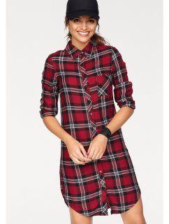 35d0b057a5 Camisa larga a cuadros con mangas largas para mujer AJC