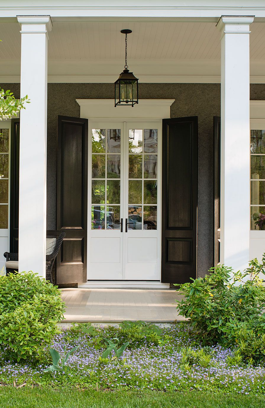 American Foursquare Revival | beautiful French Doors with shutters ...