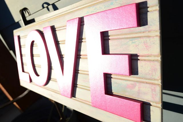 Valentines Day Love Sign Made With A Scrap Of Beadboard And Cardboard Letters From Hobby Lobby Cardboard Letters Beadboard Love Signs