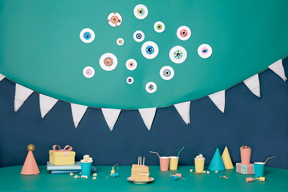 Make it a monster of a birthday party with these eyeball invitations and toothy, beastly bunting.