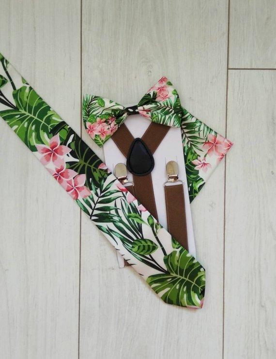 07bf74792f4 Tropical bow tie and suspenders. Tropical necktie. Hawaiian necktie ...