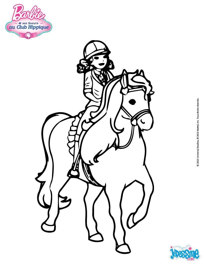 Un joli coloriage de barbie au club hippique barbie pars en balade cheval toi de colorier - Barbie et son cheval ...
