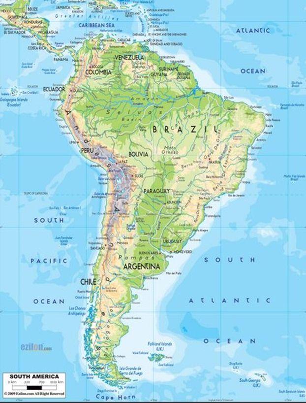 Mapa físico de América | Geografía | Pinterest | South america ...