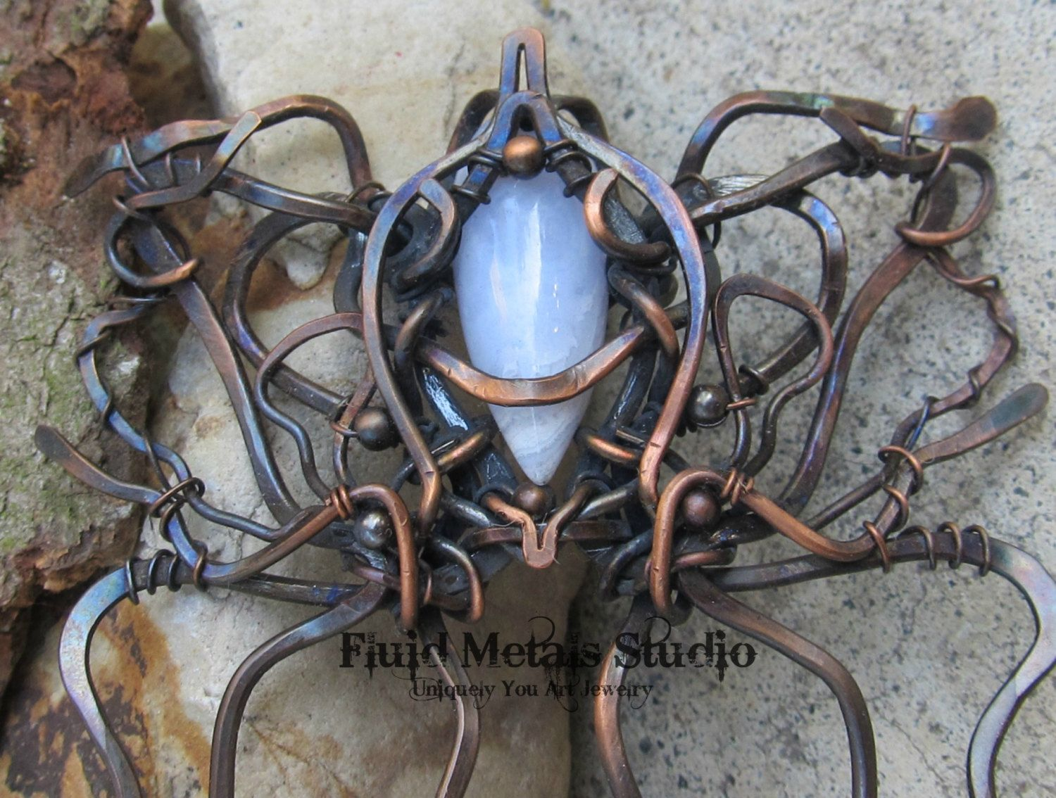 Oxidized copper and blue chalcedony wire wrapped hair comb/fork by ...