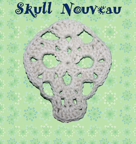 NEW SKULL CROCHET PATTERN!  Lacey looking skull applique with granny rectangle instructions and flowers patterns to make Sugar Skull!