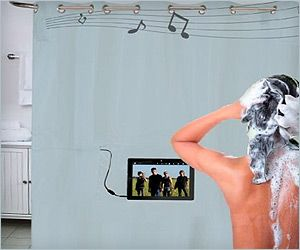 Shower Curtain With Waterproof Speakers For Music Phone Calls Amazing Bathrooms Geek Gadgets Shower Curtain