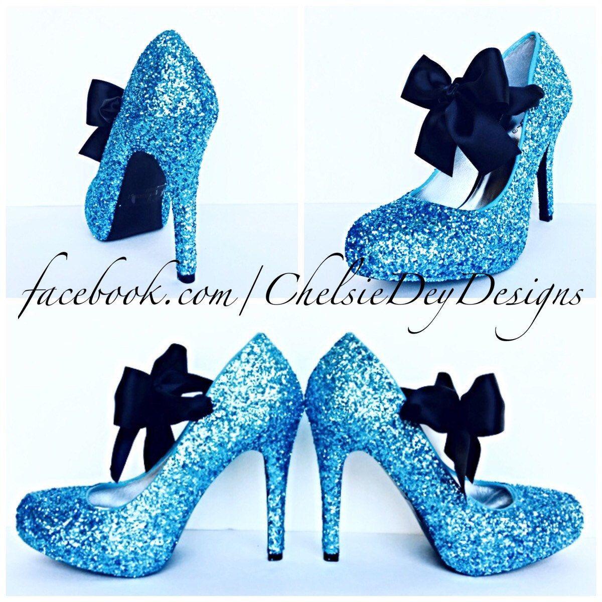 Glitter High Heels Light Blue Pumps Aqua Turquoise Ice