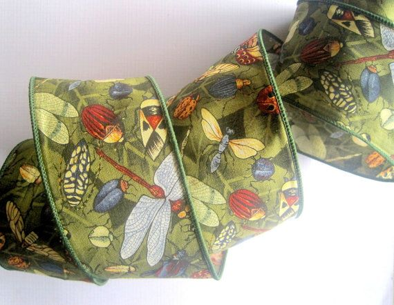 Bugs Day Wide Wired Cotton Ribbon MultiGreen by PrimroseLaceRibbon, $3.25