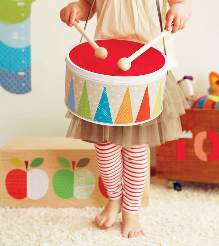 toy drum made by covering a tin box adding a strap diy toy ideas drums for kids diy drums. Black Bedroom Furniture Sets. Home Design Ideas
