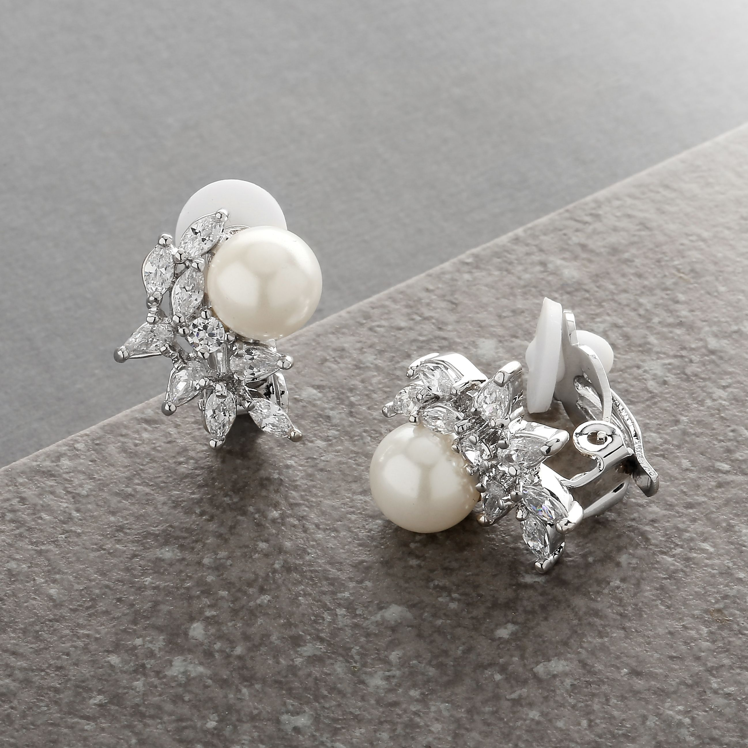 Mariell Ivory Pearls and CZ Cluster Clip On Wedding