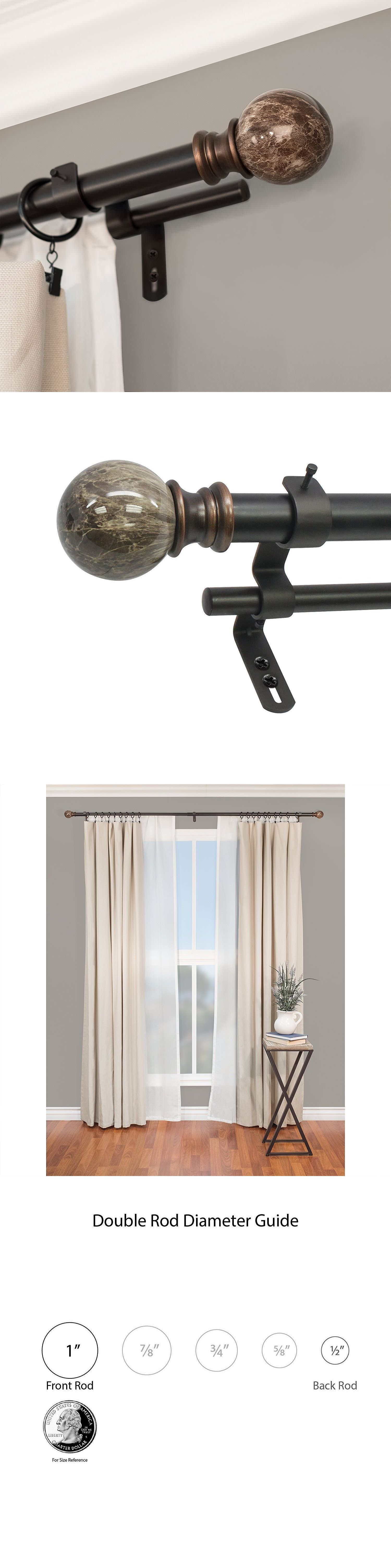 double curtains curtain rods