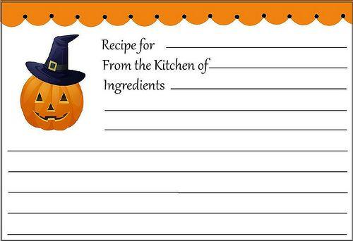 cute halloween recipe card printable