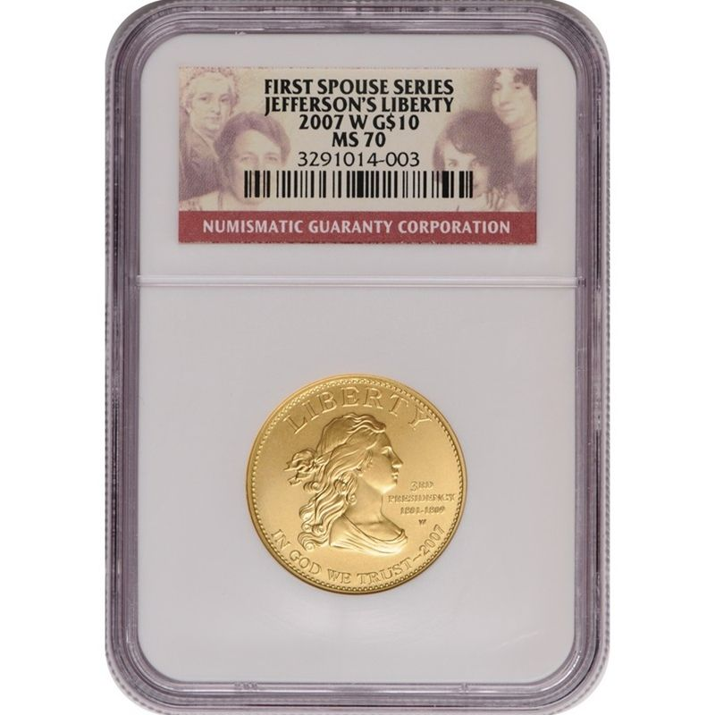 2007-W First Spouse Jeffersons Liberty Half Ounce Gold Coin MS70 NGC