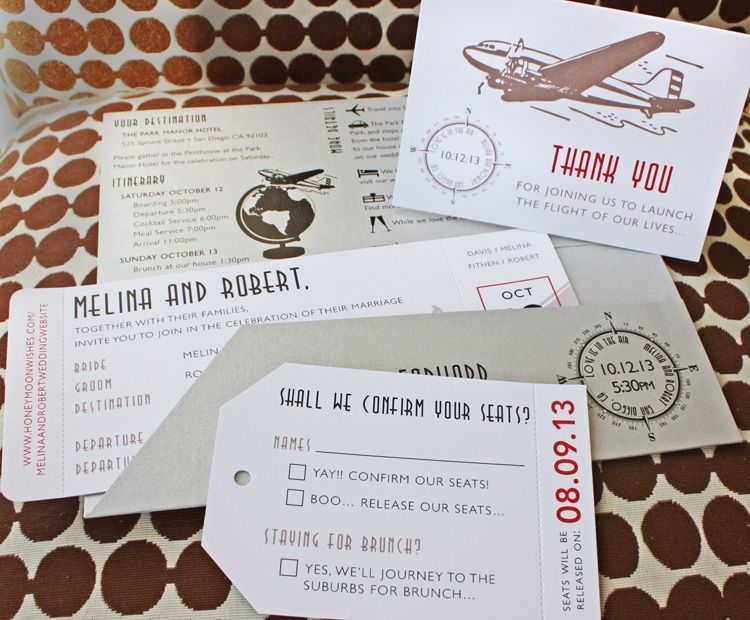 Silver, Red \ Beige Vintage 1930s Airplane, Globe \ Compass - plane ticket invitation template
