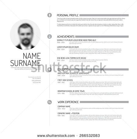 Stock Images similar to ID 252616477 - vector minimalist cv resume - stock resume